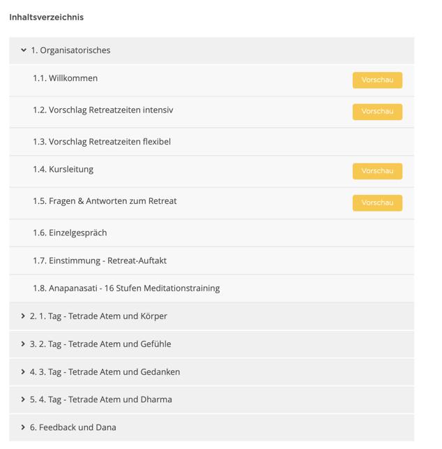 Einzelretreat Inhaltsverzeichnis